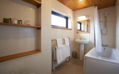 Garden apartment bathroom.